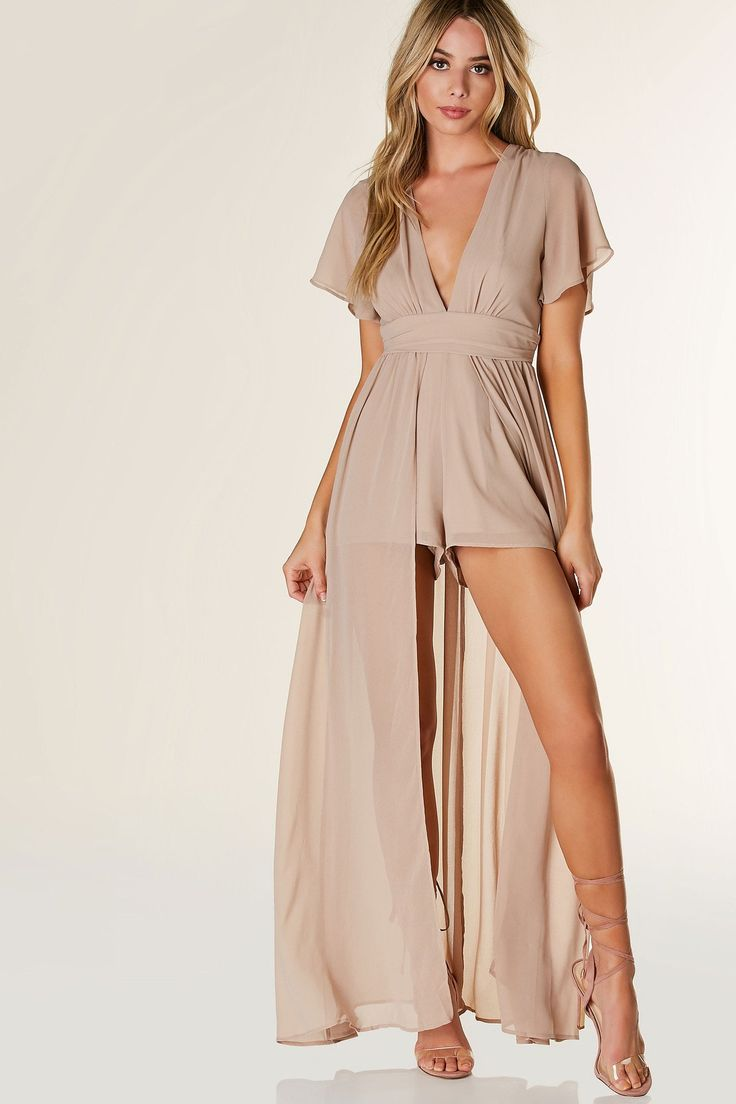 Bandage bodycon dresses 0 celebrities 1639 get lucky extra 50 0 - Evening Gown With Sleeves Lightweight Chiffon Romper With Deep V Neckline And Flared Short Sleeves Flowy Maxi Overlay With Cut Out Back And Button Zip
