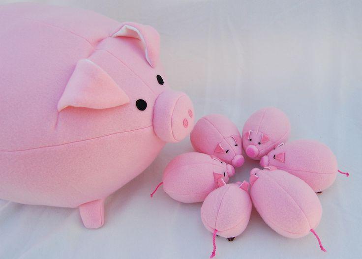 ikat bag: Pig & Piglets pattern