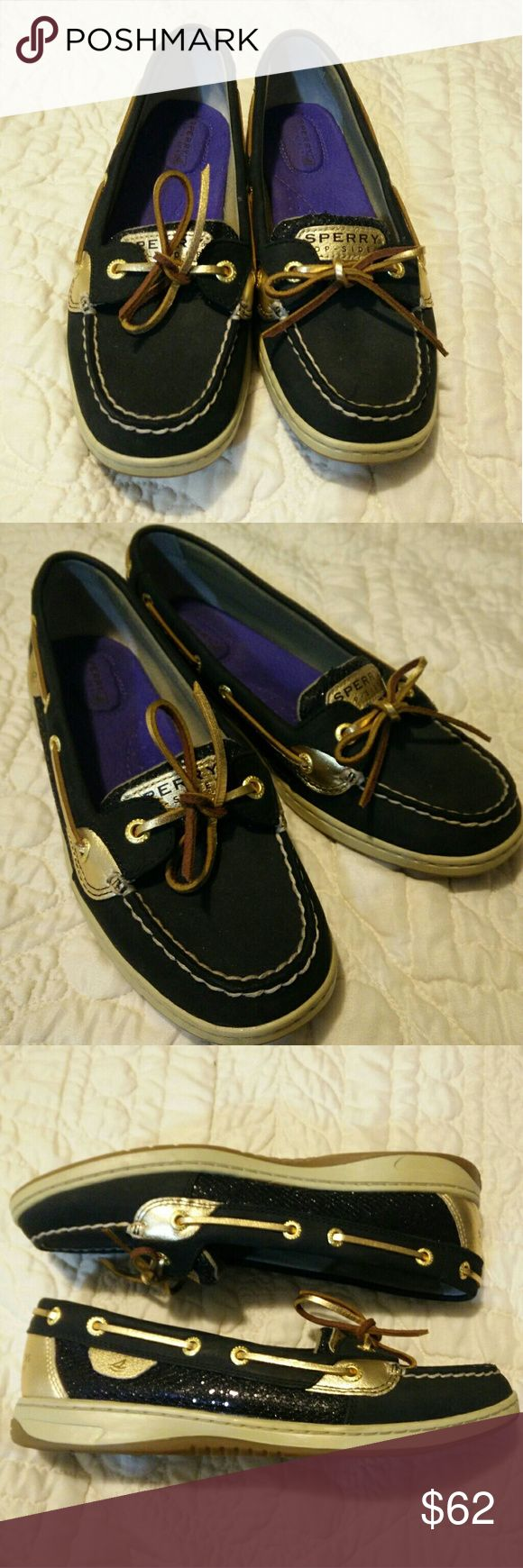 Sperry Gold & Black Size eight (8) black Sperry with gold, purple insoles, only worm once, great for the office, or any day Sperry Shoes