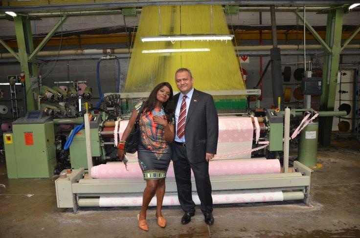 Mr Sesli from Sesli Textiles with Ms Roberts Kaya FM