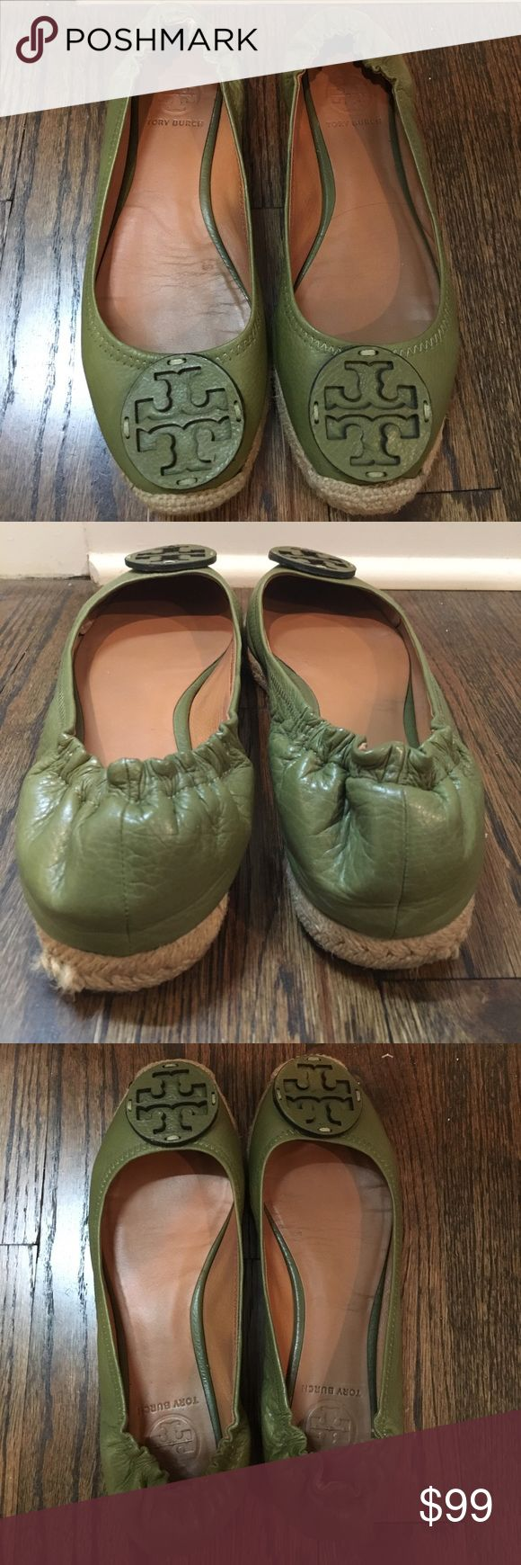Tory Burch flats Olive green / hunter green espadrille like flats. No marks on leather. Perfect condition. Only wore 5 times. Tory Burch Shoes Flats & Loafers