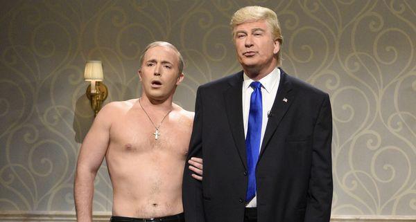 Beck Bennett brought his shirtless Putin impression to 'Saturday Night Live.'