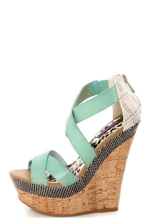 Check it out from Lulus.com! What, precisely, is our favorite thing about the Dollhouse Precise Mint Textured Platform Wedge Sandals? It's too hard to choose between the crisscrossing burnished vegan leather straps, ivory crocodile-textured heel cup, and gorgeously interwoven black and ivory raffia layer along the platform. We'll take it all! Inside ankle strap has hidden elastic. 2
