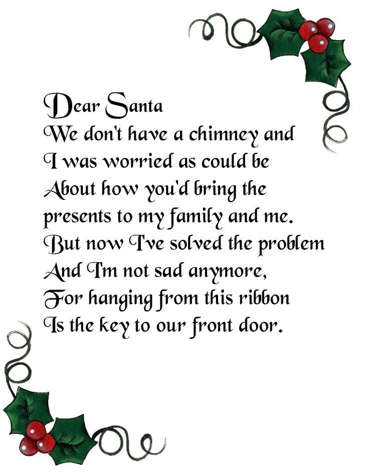 Magic Santa Key Poem Printable