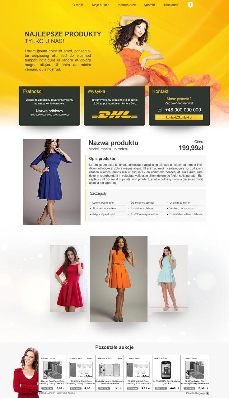Kolejny dobry projekt z mojej stajni :D Mi się podoba ;) Szablon przeznaczony do sprzedaży damskiej odzieży z naciskiem na sukienki :) #szablony_allegro #sukienki #odzież_damska #allegrodesign