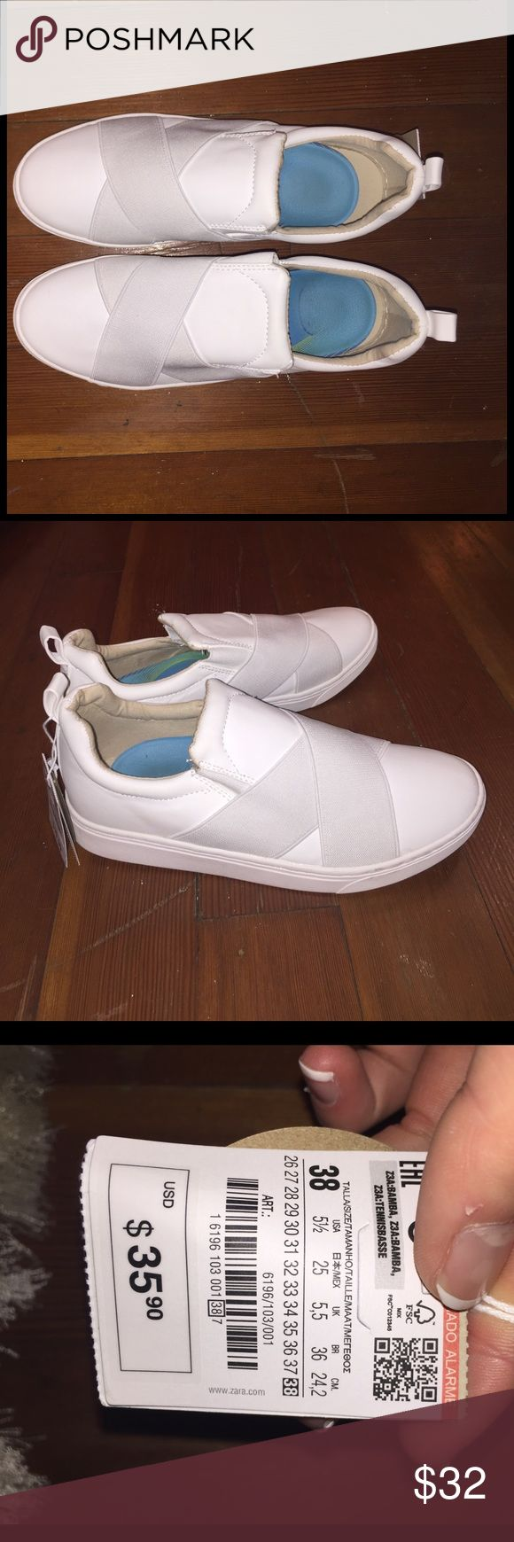 zara kids join life collection slip on shoes comfy white hip shoes. fits big for zara kids. UK 38 Zara Shoes Sneakers