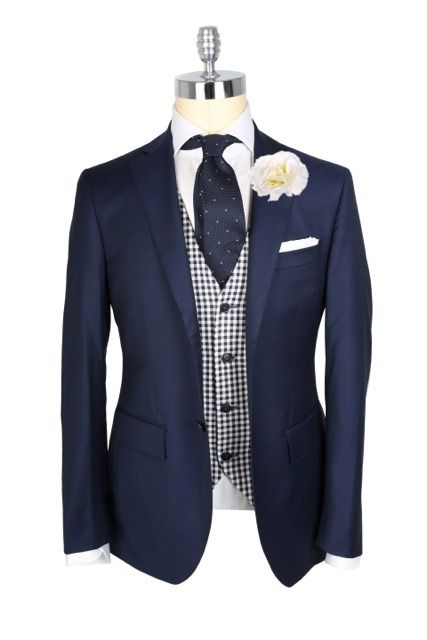 """#DressWell mypantalones: """" Takes on classic navy blazer/white shirt wedding attire from the guys at Macaroni Tomato. These are all extremely solid looks that utilize a very small part of the color..."""