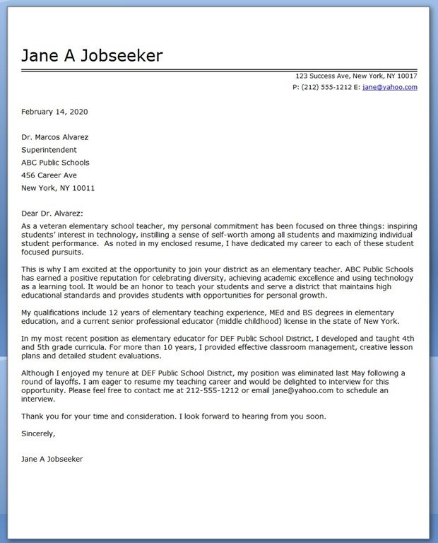 Elementary School Teacher Cover Letter Samples  Sample Teacher Cover Letter
