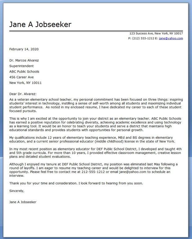 Elementary School Teacher Cover Letter Samples