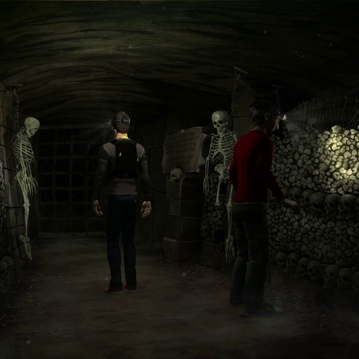 John and Boris are paying a little visit to the parisian catacombs. Skulls and dust for free!