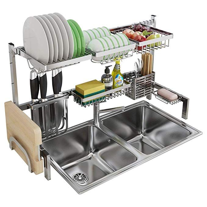 Skywin Kitchen Dish Rack Over Sink 2 Tier Dish Rack For Counter