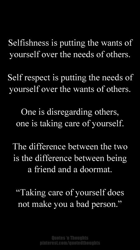 Taking care of yourself does not make you a bad person. #quote