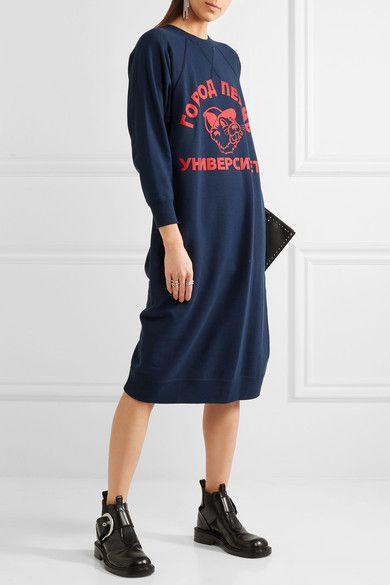 Junya Watanabe - Printed Cotton-jersey Midi Dress - Navy - small