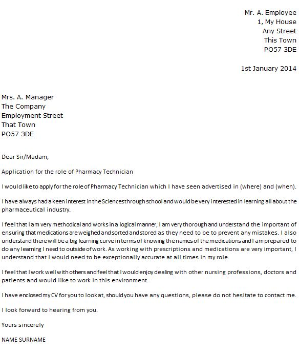 Cover Letter For Pharmacy Technician: Pharmacy Technician Cover Letter Example Icover