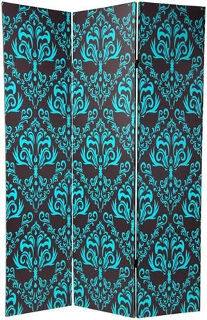 3-Panel Fleur de Lis Double Sided Damask Room Divider