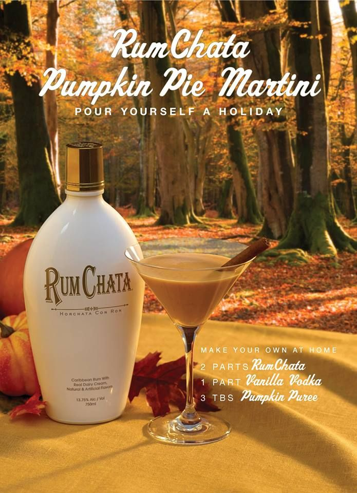 RUMCHATA PUMPKIN PIE MARTINI 2 parts RumChata 1 part vanilla vodka 3 tbs pumpkin pie filling (or substitute 1 part pumpkin syrup) Pinch of Cinnamon Shake with ice and strain into a martini glass; sprinkle with cinnamon.