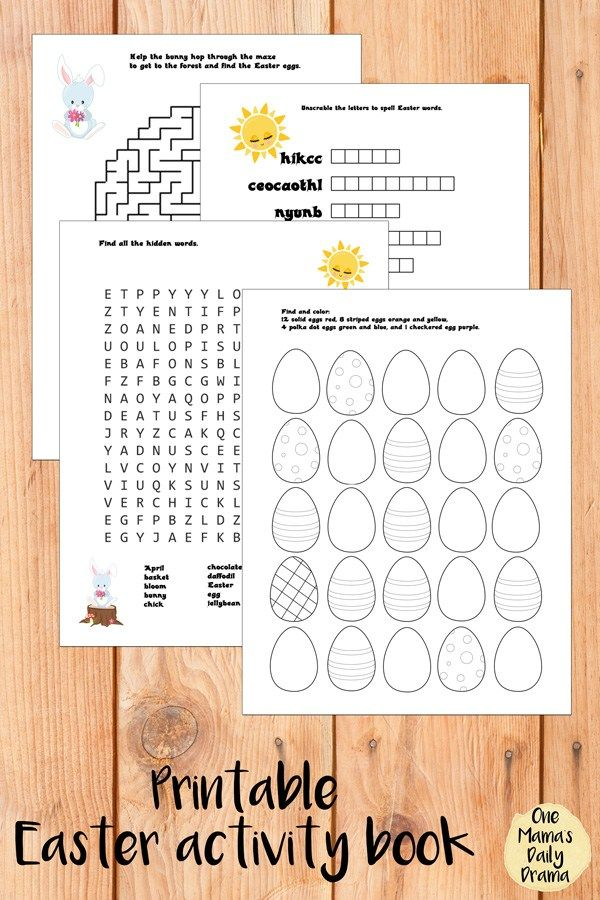 Free Printable Easter Activity Book With 4 Worksheets / Maze, Word Search,  Word Scramble, … Printable Easter Activities, Easter Printables Free,  Easter Activities