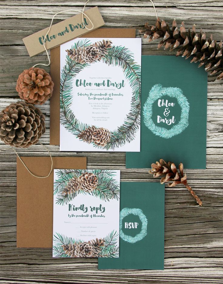 Winter wedding invitations | Winter Wreath Wedding Invitation by LatticeTreeStudio