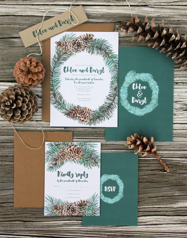 Winter wedding invitations | Winter Wreath Wedding Invitation by LatticeTreeStudio