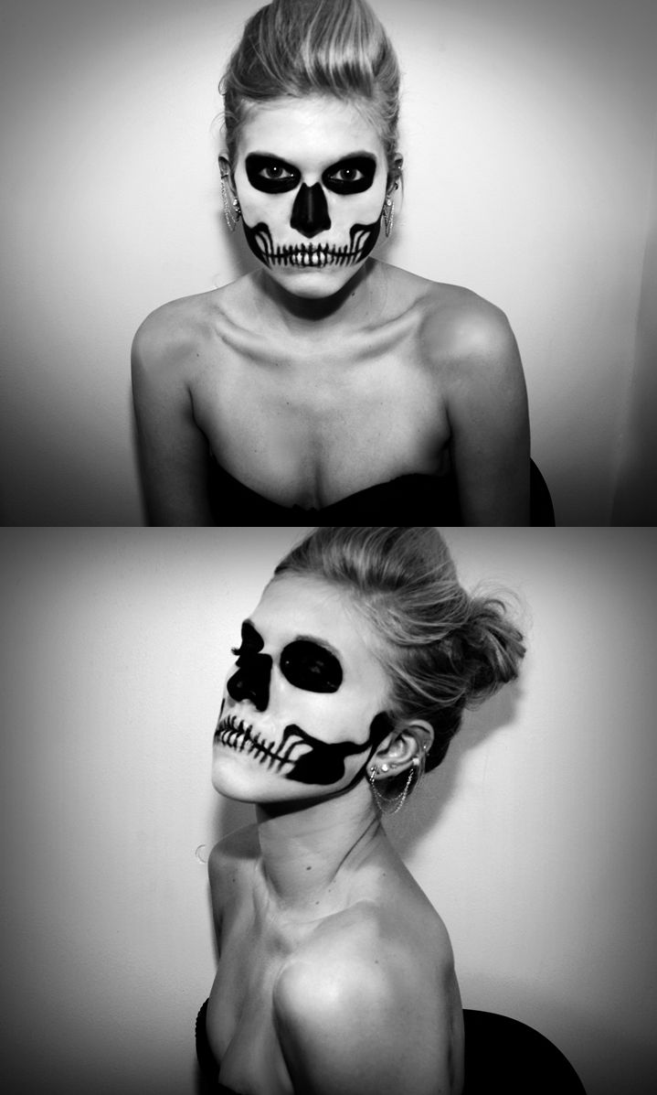 quick costume of a skeleton black and white make up mix with metallic silver to brighten - Quick Scary Halloween Costumes