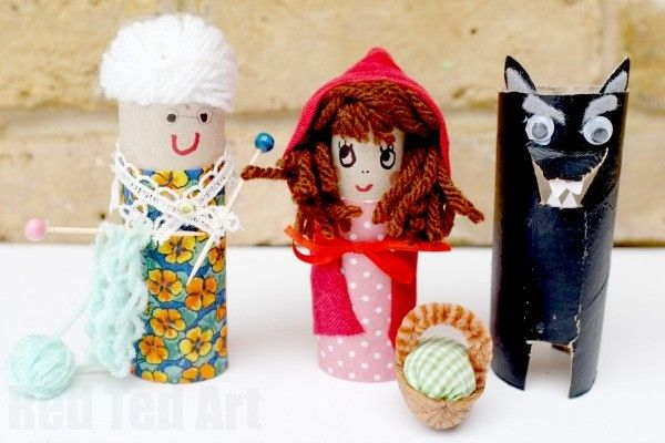 Little Red Riding Hood Craft - TP Rolls Again! We love bring stories and fairy tales to life. Create your own Story Props with these super cute TP Roll Characters for Little Red Riding Hood.. adore the little walnut basket and the knitting needles for Granny!