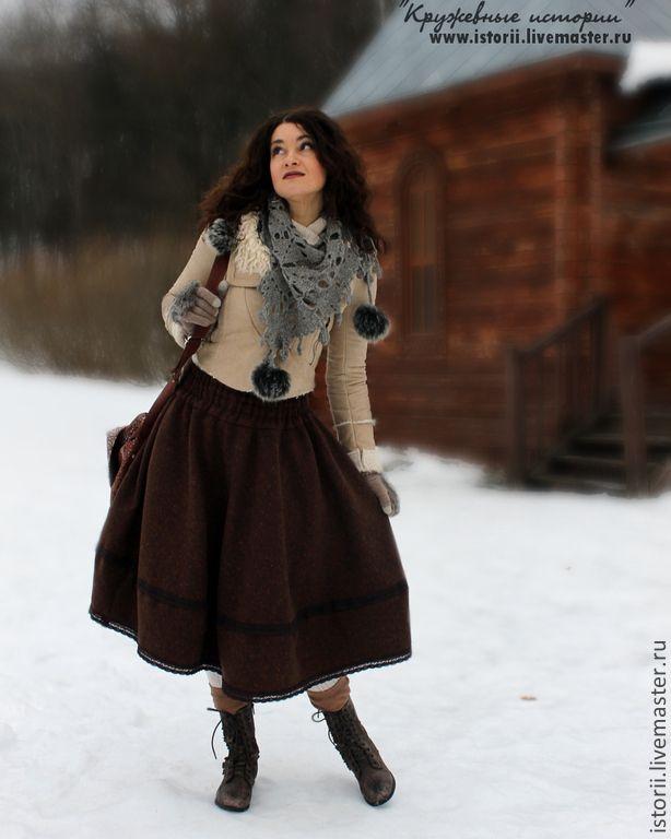 Купить Пышная юбочка из твида для бохо-стиля - коричневый, твид, твидовая юбка, юбка из твида