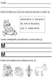 Resultado de imagem para atividades sobre a familia silabica do M