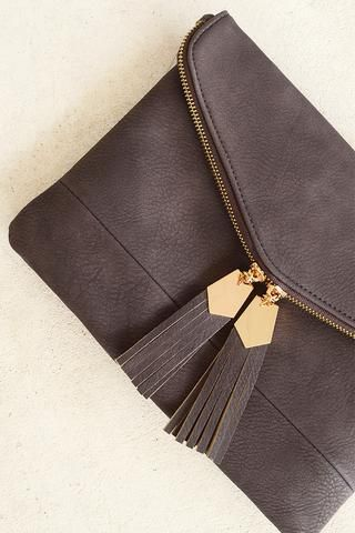 Chocolate Tassel Clutch