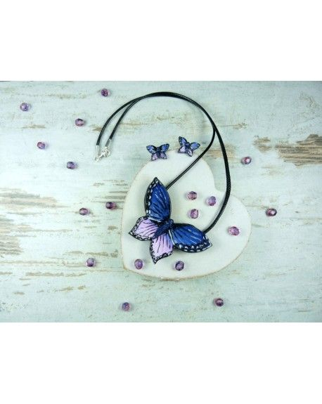 butterlfly jewelry set, polymer clay butterfly, fimo butterfly, pendant and earrings with butterfly.
