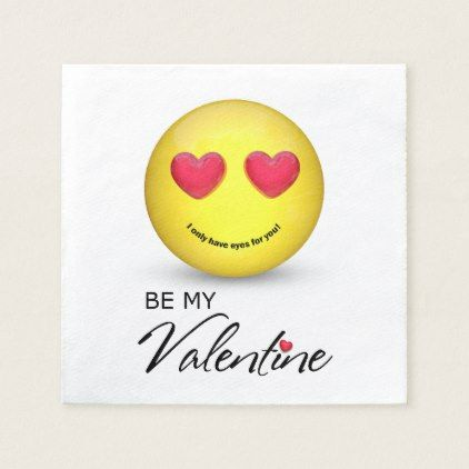 Be My Valentine Emoji with Heart Eyes Paper Napkin - home gifts cool custom diy cyo