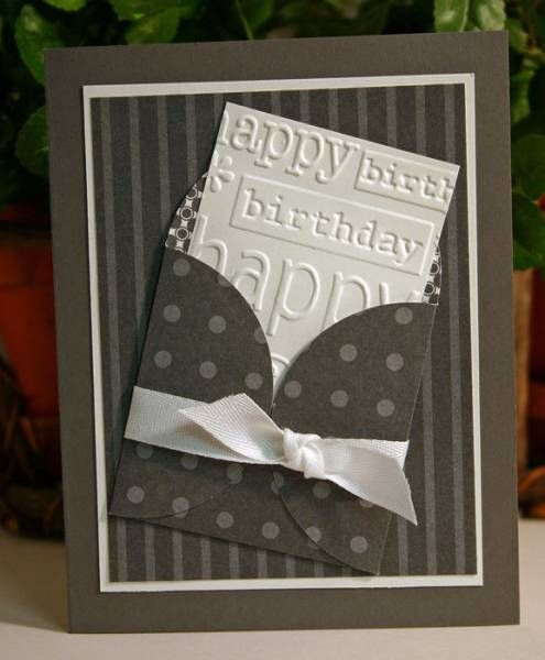 Petal Pocket Birthday card. This card looks more masculine to me, but a simple change up of the color scheme and it could be for a female. A bit of a child-like print on one portion and it would be perfect for a kid's birthday card.
