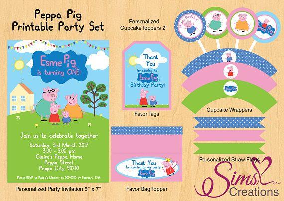 Peppa Pig Birthday Invitation Peppa Pig Party Pack Peppa Pig Party Kit, Peppa Pig Favor Tags, Peppa Pig Cupcake Toppers, Peppa Pig Birthday Banner
