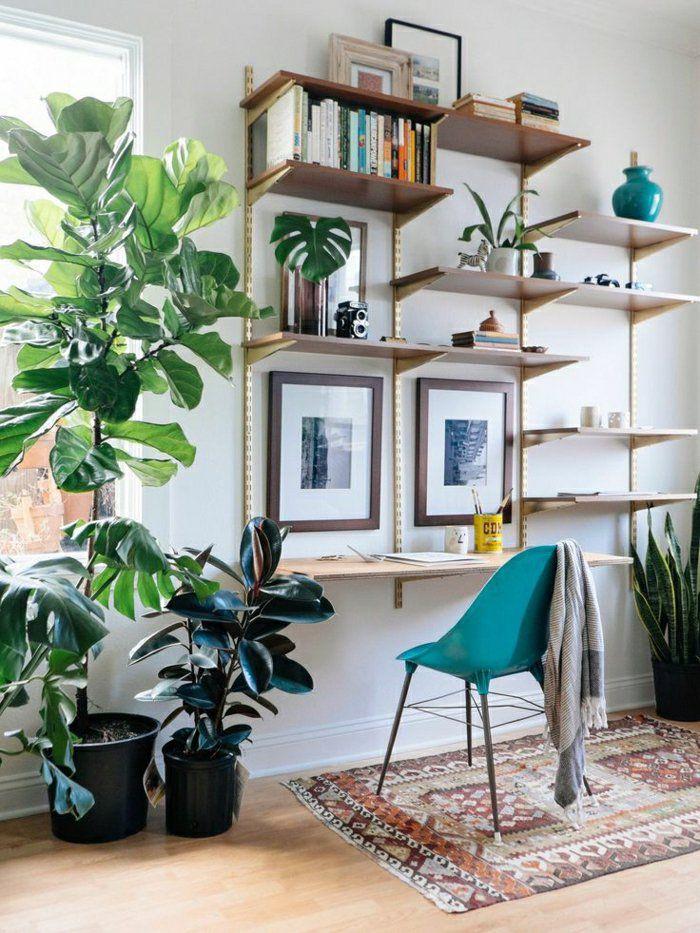 tapis coloré, plante verte, étagère murale en bois, mur blanc, plante verte, fenetre