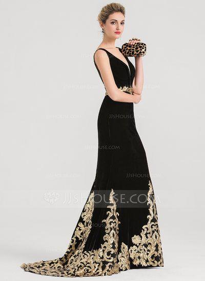 1d69eef8 Trumpet/Mermaid V-neck Sweep Train Velvet Evening Dress With Sequins  (017147972)