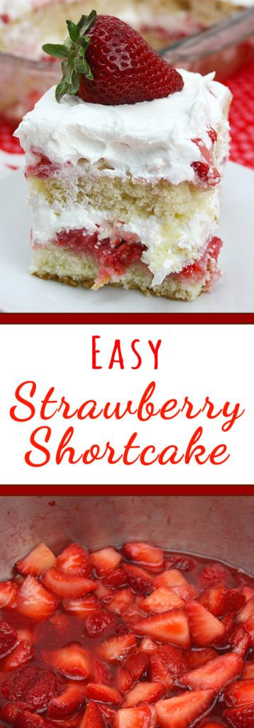 Strawberry Shortcake - This easy strawberry shortcake recipe has 2 layers of perfectly light and fluffy cake soaked with juicy strawberries, topped with whipped cream.