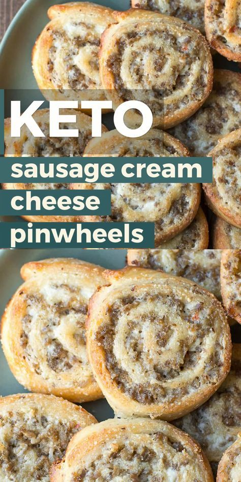The perfect keto appetizer! Keto Sausage Cream Cheese Pinwheels are made with fat head dough and loaded with sausage and cream cheese! Just two net ca...