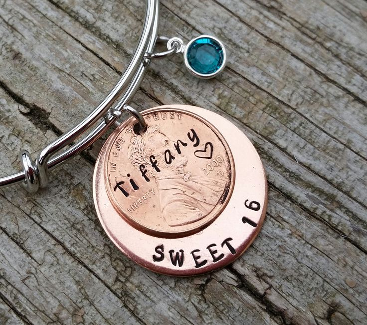 sweet 16 birthday gift 16th birthday gift sweet 16 bracelet wire bangle bracelet gift for daughter gift for her sweet 16 by TiffysLove on Etsy                                                                                                                                                                                 More