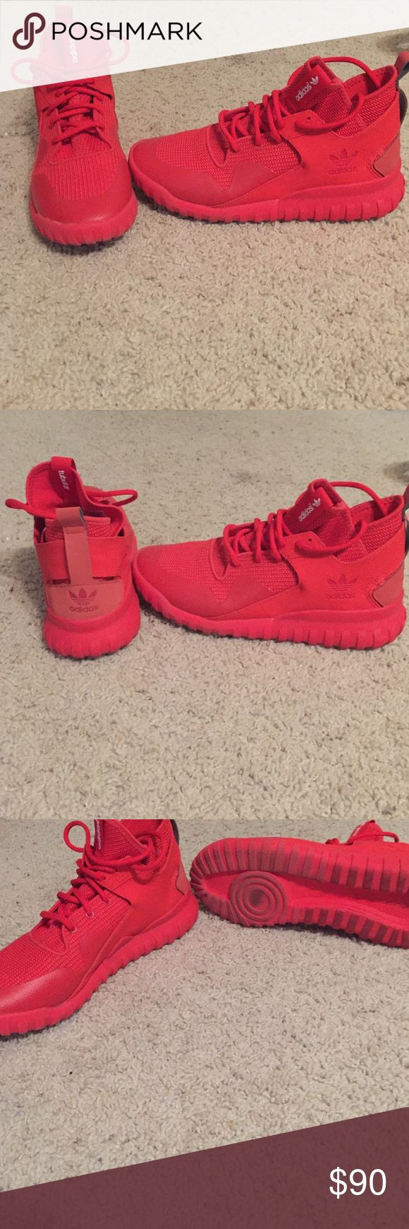 All red adidas tubular high tops Great condition worn twice but still look brand new just dirty on bottom Adidas Shoes Athletic Shoes
