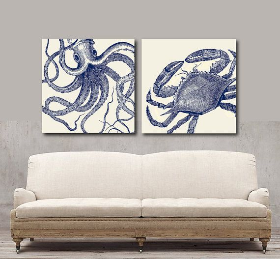 Nautical Inspired Ocean Canvas Art by SOLartDesigns on Etsy