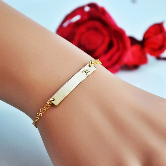 Gold Bar Bracelet, Personalized Gold Bar, Initial Bar Bracelet, 14k Gold Fill, Monogram Bar Bracelet, Gold, Rose Gold, Silver Bracelet by malizbijoux. Explore more products on http://malizbijoux.etsy.com