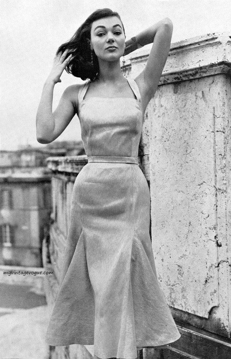 Moda Italiana Spring / Summer 1956  Ivy Nicholson wearing dress by La Tessitrice Dell'Isola