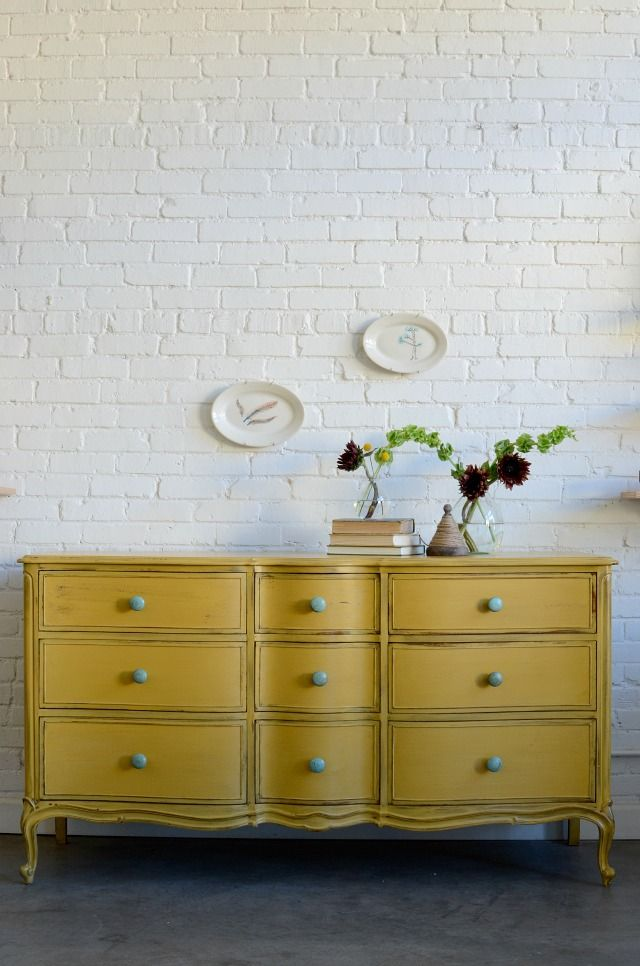 Yellow Dresser. Try different knobs for different looks from Country to Elegant by Barb Knack
