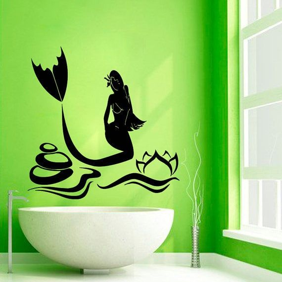 Mermaid Girl Vinyl Sticker Water Nymph Lotus Decal Waves Spa Home Interior Kid Room Decor Sticker Decal size 22x22 Color