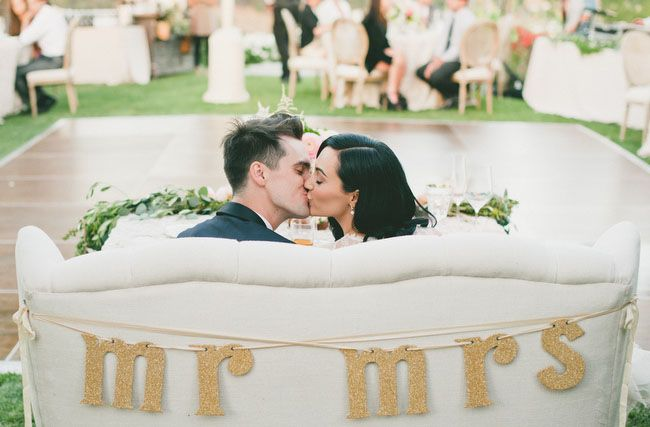 Glamorous Malibu Wedding: Sarah + Brendon Urie Love the idea of a love seat for the sweethearts table