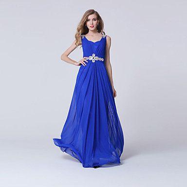 Vestido-Azul Real / branco Evento Formal Tubinho Decote V Até o Tornozelo Tule de 2016 por R$304.76