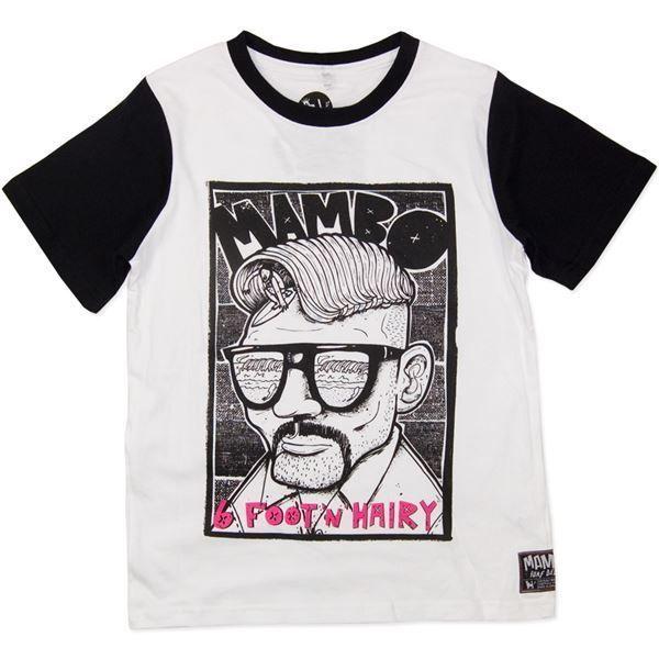 Sz 8 10 12 14 Boys MAMBO Black White T Shirt Tee Street Wear Cotton Surf