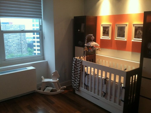 Modern Boy's Neutral Nursery Features Sports and a Coral Stripe: Modern Boys Nurseries, Baby Boys Rooms, Baby Ideas, Boys Rooms Colors, Baby Rooms, Neutral Nurseries, Nurseries Ideas, Baby Nurseries, Baby Church