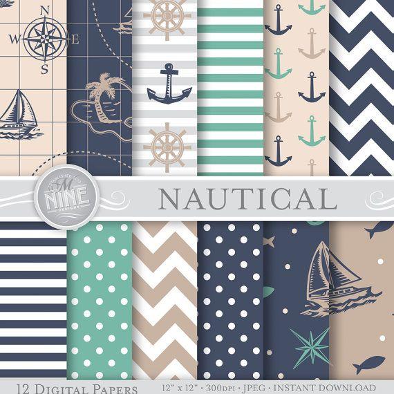 "NAUTICAL Digital Paper NEUTRAL BLUE Seamless Pattern Prints, Instant Download, 12"" x 12"" Paper Pack Sailboat Boy Patterns Scrapbook Print"