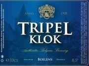 Cerveja Tripel Klok, estilo Belgian Tripel, produzida por Brouwerij Boelens, Bélgica. 8.5% ABV de álcool.