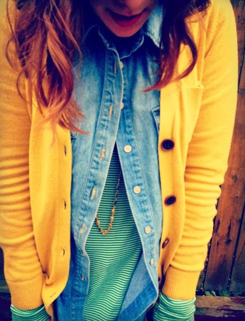 Layer up this season in a chambray button shirt, stripes & a mustard cardigan.